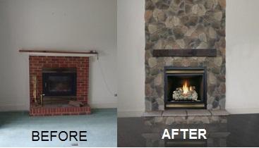 Brick To Stone Fireplace - Home Design
