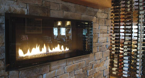 Interior Stone Fireplace Canyon Ledge Stone Midnight Slate