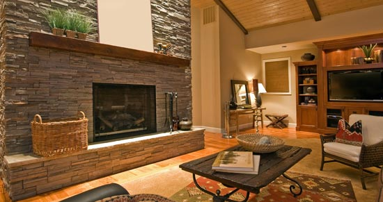 Interior Stone Fireplace Manufactured Veneer